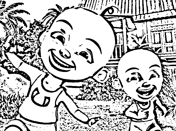 Upin Ipin Coloring Picture 1