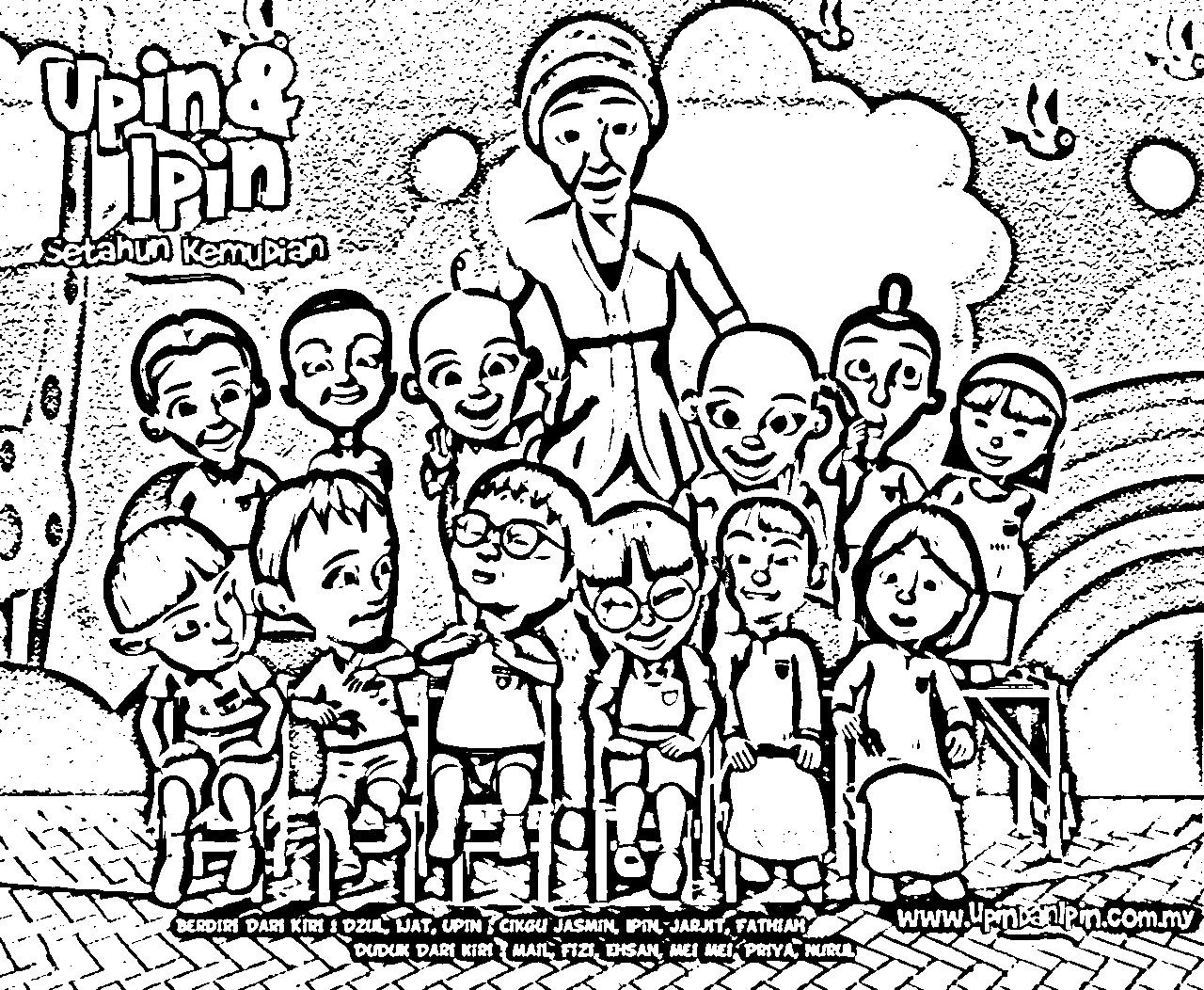 upin ipin coloring picture